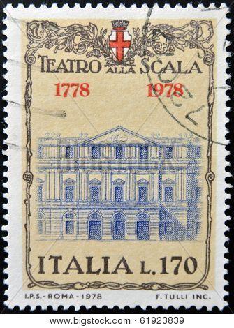 ITALY - CIRCA 1978: A stamp printed in Italy shows The Teatro alla Scala in Milan circa 1978