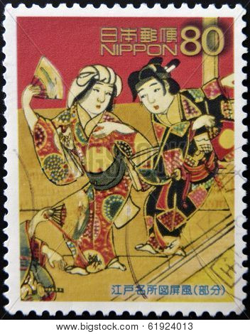 JAPAN - CIRCA 2003: A stamp printed in Japan shows Figure Edo screen circa 2003