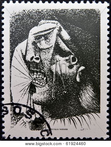 POLAND - CIRCA 1981: A stamp printed in Poland shows A Crying Woman by Pablo Picasso circa 1981