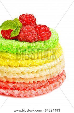 Waffle Cake With Rasberries