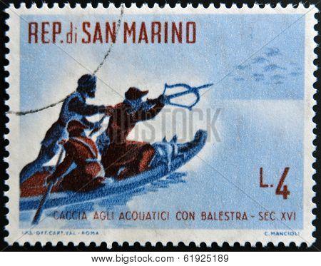 SAN MARINO - CIRCA 1961: A stamp printed in San Marino dedicated to hunting shows waterfowl hunting