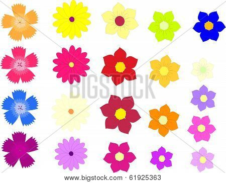 Vector Of Colorful Flowers Isolated On A White Background