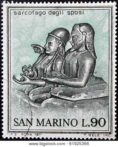 SAN MARINO - CIRCA 1971: A stamp printed in San Marino dedicated to ancient Etruscans