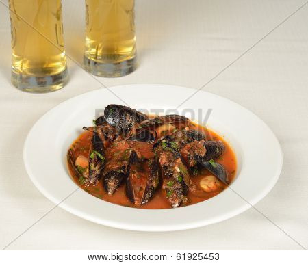 Mussels soup with tomato sause