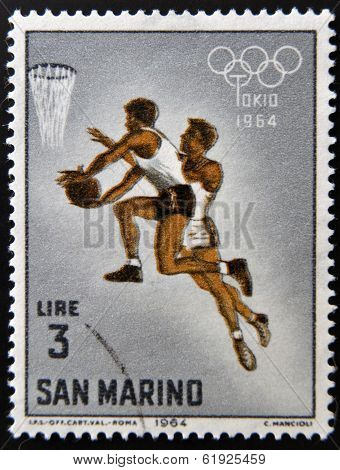 SAN MARINO - CIRCA 1964: A stamp printed in San Marino shows Basketball