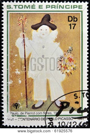 SAO TOME AND PRINCIPE - CIRCA 1981: A stamp printed in Sao Tome shows Paul Pierrot with flowers
