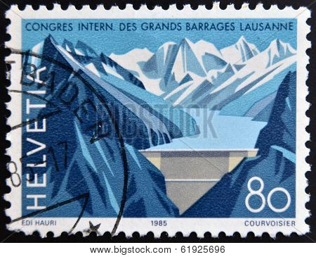 SWITZERLAND - CIRCA 1985: A stamp printed in Switzerland shown Grande Dizence Dam Canton Valais
