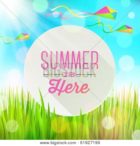 Summer  greeting round banner against a landscape with fresh grass and colorful kites - vector illustration