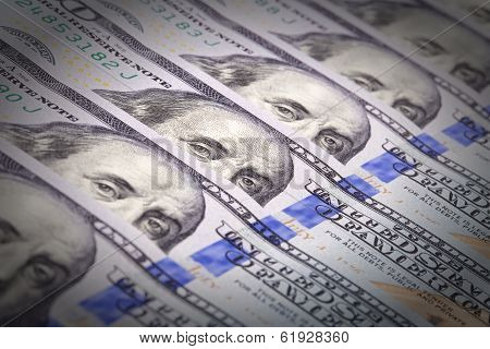 Extreme close-up of one hundred bill