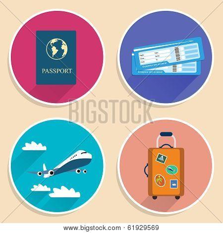 Vacation Travel Voyage Icons Set