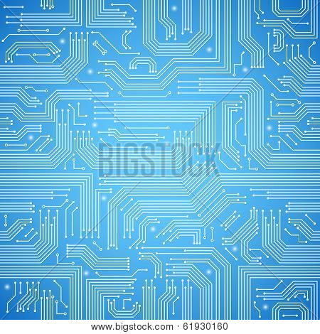 Circuit board seamless blue pattern
