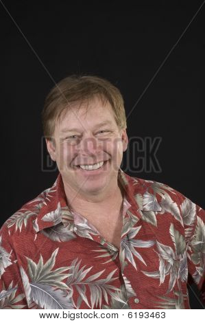 Happy Man In Hawaiian Shirt