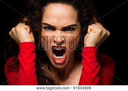 Vary Angry Woman Clenching Fists