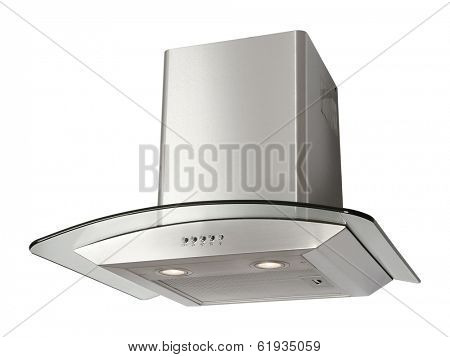 Modern INOX cooker hood isolated on white