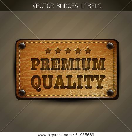 vector leather style premium quality label