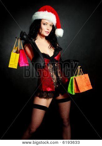sexy Santa mit Geschenken