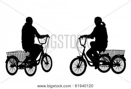 young woman riding tricycle silhouettes