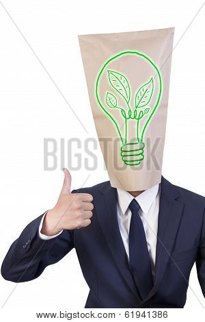 Businessman Cover Head Love Green Energy