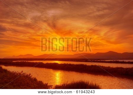 Ibiza ses Salines saltworks at sunset in Sant Josep at Balearic Islands of Spain