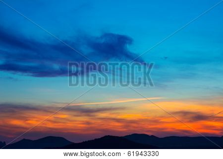 Ibiza ses Salines mountains at sunset in Sant Josep at Balearic Islands of Spain