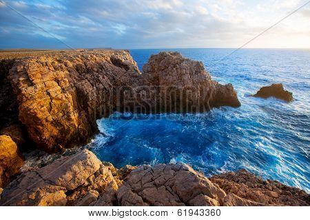 Menorca Punta Nati sunset in Ciutadella Balearic Islands at Mediterranean sea