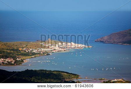 Menorca Fornells aerial view from Pico del Toro in Balearic islands