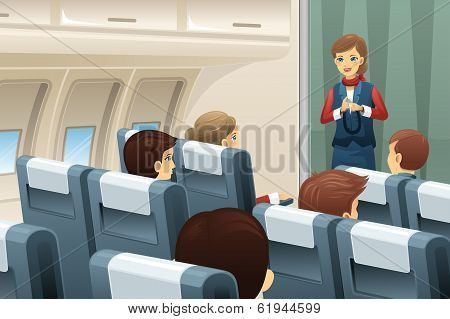 Flight Attendant Demonstrate How To Fasten The Seat Belt