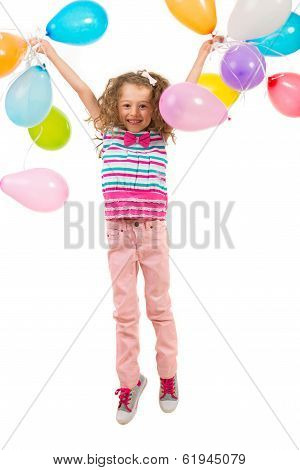 Cheerful Birthday Girl Leaping