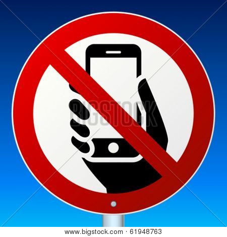 High-detailed vector road sign prohibits mobile phones