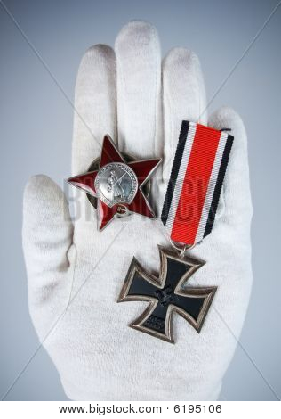 Old Medal In Hand