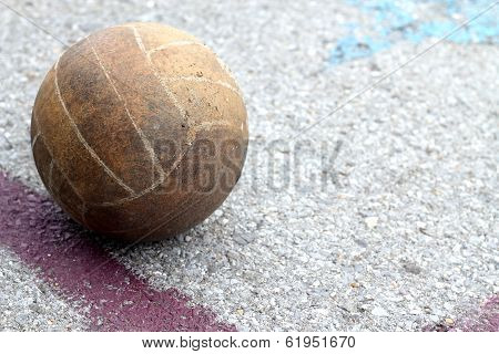 Old Volleyball And Lines