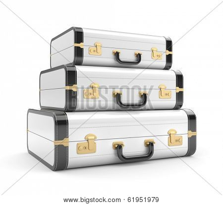 Three white vintage suitcase