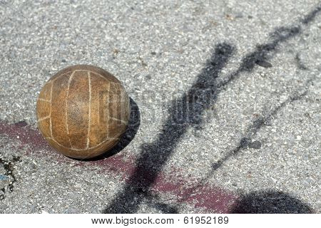 Old Volleyball, Black Shadow Of The Net