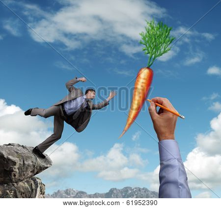 Businessman trying to reach a dangling carrot being drawn in the sky by a giant hand concept for business motivation, incentive, temptation or corporate bribing