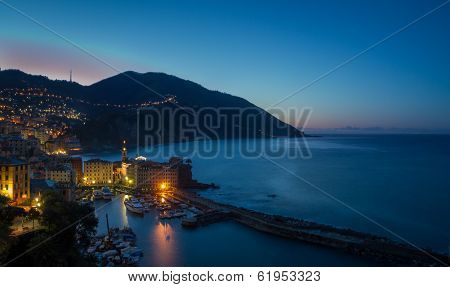 The Village Of Camogli, Italy, At Sunset
