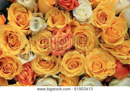 Yellow And White Rose Wedding Arrangement