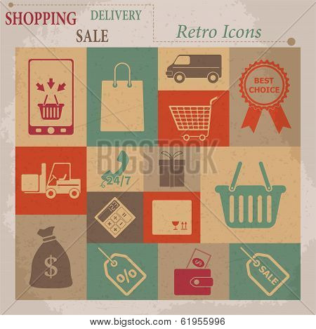 Shopping Vector Flat Retro Icons