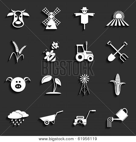 Agriculture and farming icons. Vector illustration