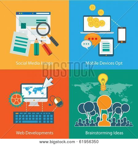 Flat Style Diagram, Infographic and UI Icons to use for your business project, marketing promotion, mobile advertising, research and money analytics.