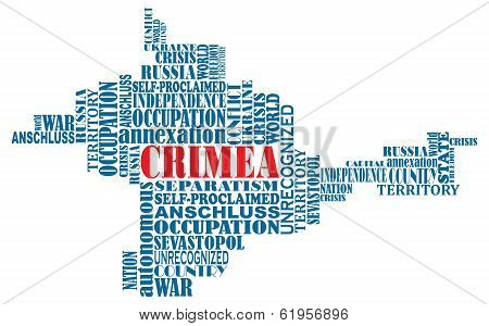 Vector Conceptual Word Map Of Crimea, Ukrainian Territory, Invaded Invaded By Russia