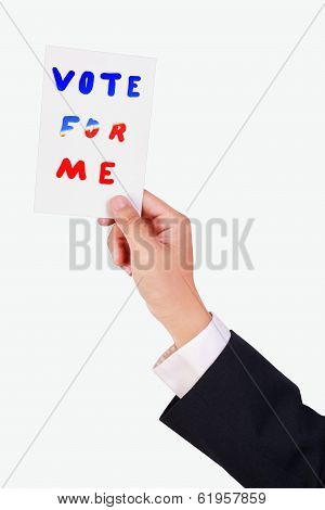 Business Man Hold White Paper
