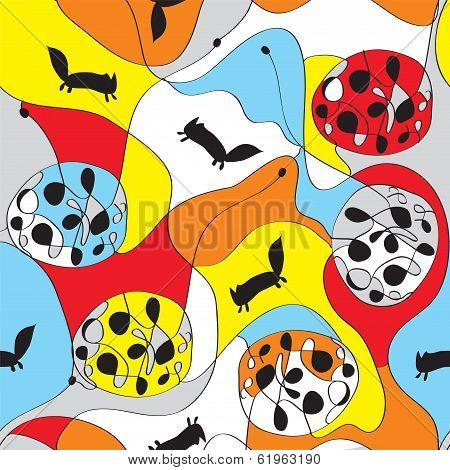 Seamless whimsical pattern with foxes