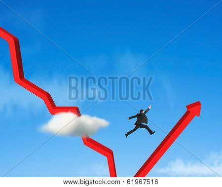 Businessman Jumping Over Gowing Down Red Arrow
