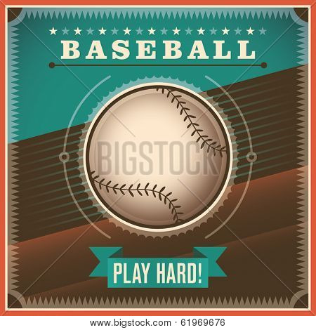 Baseball background with retro design. Vector illustration.