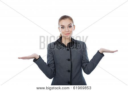 Portrait Of A Business Woman With Her Both Her Empty Palms Extended Sideways.