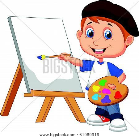 Cartoon boy painting