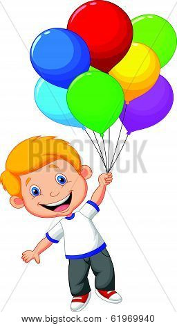Young boy cartoon flying with balloon