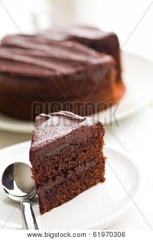 dark chocolate cake on plate