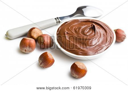 chocolate spread in bowl on white background