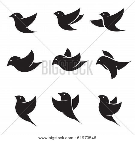 Set Of Vector Bird Icons